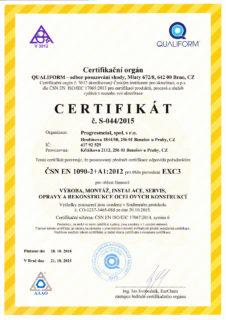 Certifikát ČSN EN 1090-2