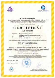 Certifikát ČSN ISO 3834-2